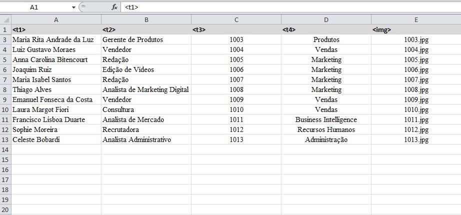Tabela Excel Dados Variáveis l Gráfica Cores