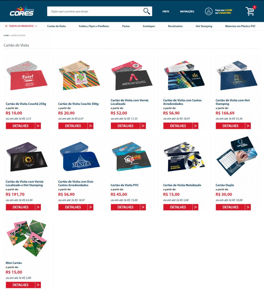 Como comprar - Categoria Cartão de Visita - Gráfica Cores