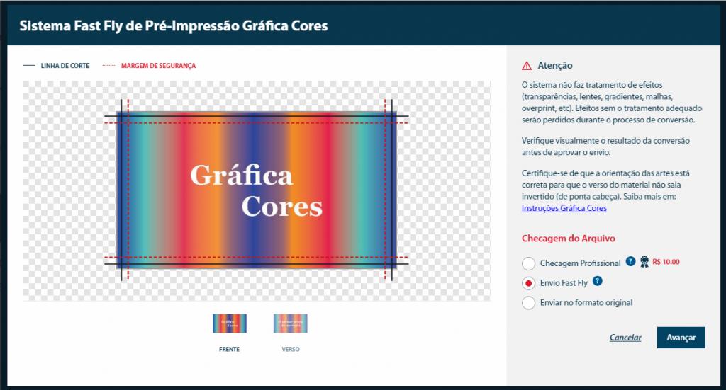 Como comprar - Conversor - Visualização das artes no Fast Fly - Gráfica Cores